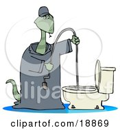 Clipart Illustration Of A Plumber Snake Using A Toilet Jack To Unclog A Toilet by Dennis Cox