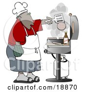 Clipart Illustration Of An African American Man Cooking Hamburger Patties On A Gas Grill At A Barbecue Party by Dennis Cox