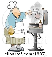 Caucasian Man Cooking Hamburger Patties On A Gas Grill At A Barbecue Party
