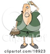 Clipart Illustration Of A Caucasian Man Wearing A Green Robe And Slippers Applying Hairpiece Glue On Top Of His Bald Head To Make His Toupee Stay