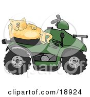 Clipart Illustration Of A Lazy Orange Cat Resting On The Seat Of A Green Quad