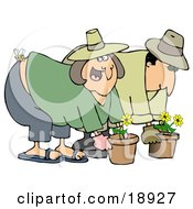 Clipart Illustration Of A Caucasian Woman Gardening With Her Husband Getting Stung On The Butt By A Bee