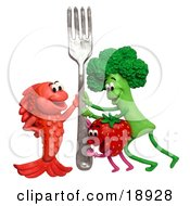 Poster, Art Print Of 3d Broccoli Strawberry And Fish Holding Up A Fork