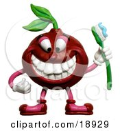 3d Cherry Holding A Toothbrush And Smiling