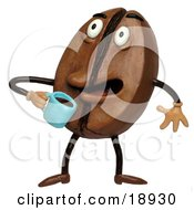 Clay Sculpture Clipart Coffee Bean Drinking Java Royalty Free 3d Illustration by Amy Vangsgard