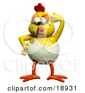 Clay Sculpture Clipart Chick Crying And Trying To Escape An Egg Shell Royalty Free 3d Illustration by Amy Vangsgard