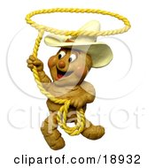 Poster, Art Print Of 3d Ginger Root Cowboy Swinging A Lasso