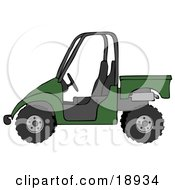Clipart Illustration Of A Dark Green UTV Truck