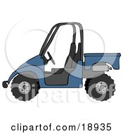 Clipart Illustration Of A Boyish Blue UTV Truck