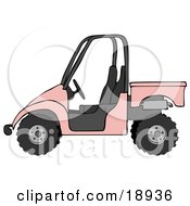 Clipart Illustration Of A Girly Pink UTV Truck