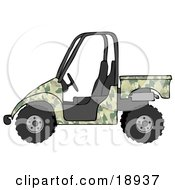 Clipart Illustration Of A Military Green Camouflage UTV Truck