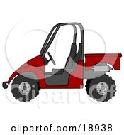 Clipart Illustration Of A Bold Red UTV Truck