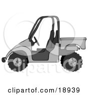Clipart Illustration Of A Silver Or Gray UTV Truck