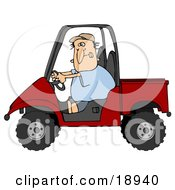 Clipart Illustration Of A Nervous White Man Driving A Red UTV On The Job For The First Time
