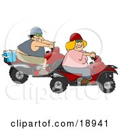Clipart Illustration Of An Adventurous White Couple A Man And A Blond Woman Riding On Red ATVs
