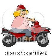 Adventurous Blond White Woman Wearing A Red Helmet And Riding A Red Atv