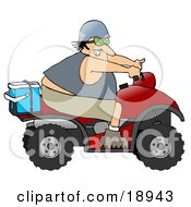 Clipart Illustration Of An Adventurous White Man Riding A Red ATV With An Ice Box On The Back