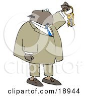 Clipart Illustration Of A Bald Black Businessman Holding Up Keys On A Ring