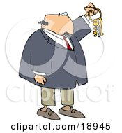 Clipart Illustration Of A Bald White Businessman Holding Up Keys On A Ring
