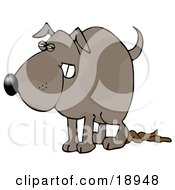 Clipart Illustration Of A Revengeful Dog Pooping On The Floor
