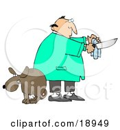 Clipart Illustration Of A Scared Dog With Balls Cowering With Its Legs Between Its Tail As A Male Veterinarian Prepares The Tools For A Neuter Surgery