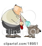 Clipart Illustration Of A Bald Middle Aged White Man Wearing A Plastic Bag On His Hand Waiting For His Dog To Finish Pooping So He Can Pick It Up by djart