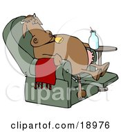 Clipart Illustration Of An Exhausted Brown Cow Kicked Back Reclined And Relaxing In A Green Lazy Chair With A Bottle Of Milk Beside Him Winding Down After A Long Day Of Work At The Dairy Farm by Dennis Cox