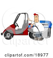 Clipart Illustration Of A White Man Wearing A Red Hat Standing Beside A Red Utv And Filling It Up With Regular Fuel At A Gas Station