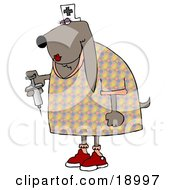 Clipart Illustration Of A Female Bloodhound Dog Nurse Wearing A White Hat With A Cross And Holding A Syringe With Medicine Inside