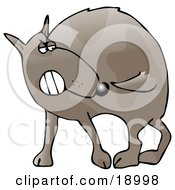 Clipart Illustration Of A Crazy Dog Running Around In Circules Trying To Bite His Own Tail