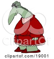 Clipart Illustration Of A Feminine Green Dinosaur With Her Hair In Curlers Wearing A Red Robe Over Pink Pajamas And Red Slippers