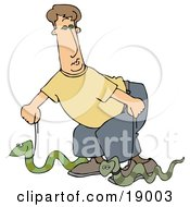 Silly Man Walking Two Green Pet Snakes On Leashes