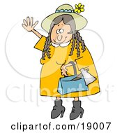 Clipart Illustration Of A Woman Lizzie Borden Wearing A Straw Hat And Yellow Dress Waving In A Friendly Manner As A Hatchet Sticks Out Of Her Purse