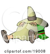 Clipart Illustration Of A Tired Mexican Man Resting His Hands On His Belly And Hiding His Face From The Sun With A Sombrero While Taking A Nap Commonly Known As A Siesta