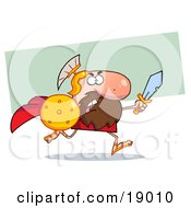 Clipart Picture Of A Male Spartan Gladiator Running With A Sword And Shield