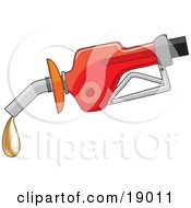 Red Gas Pump Dispenser Oozing A Drop Of Gold Fools Gold Gas