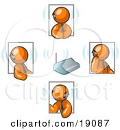 Clipart Illustration Of A Group Of Four Orange Businessmen Holding A Phone Conference And Wearing Wireless Bluetooth Headsets