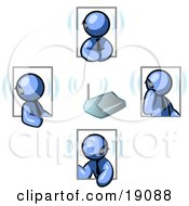 Clipart Illustration Of A Group Of Four Blue Men Holding A Phone Meeting And Wearing Wireless Bluetooth Headsets