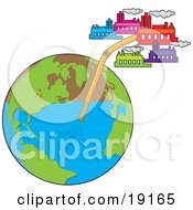 Clipart Illustration Of View Of The Globe With A Straw In It And Several Industrial Factory Buildings Sucking The Water From The Earth Through The Straw