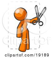 Orange Lady Character Snipping Out A Coupon With A Pair Of Scissors Before Going Shopping