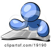 Clipart Illustration Of A Blue Man Character Seated And Reading The Daily Newspaper To Brush Up On Current Events