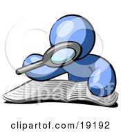 Clipart Illustration Of A Blue Man Character Using A Magnifying Glass To Examine The Facts In The Daily Newspaper by Leo Blanchette