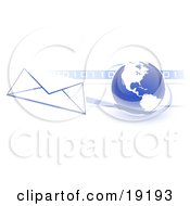 Clipart Illustration Of A Blue Blue Globe With White American Continents Against A Numeric Binary Code Bar And A Speeding Envelope Passing By With A Blue Trail Symbolizing Email And Internet Communications by Leo Blanchette
