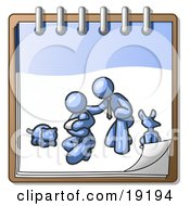 Clipart Illustration Of A Blue Family Showing A Man Kneeling Beside His Wife And Newborn Baby With Their Dog And Cat On A Notebook Symbolizing Family Planning