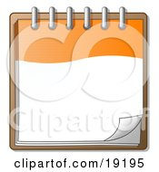 Clipart Illustration Of An Orange And White Spiral Notebook Organizer Ready For Notes