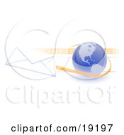 Clipart Illustration Of A Blue Blue Globe With Shaded American Continents Against A Numeric Binary Code Bar And A Speeding Envelope Passing By With An Orange Trail Symbolizing Email And Internet Communications by Leo Blanchette