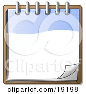 Clipart Illustration Of A Blue And White Spiral Notebook Organizer Ready For Notes by Leo Blanchette