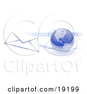 Clipart Illustration Of A Blue Blue Globe With Shaded American Continents Against A Numeric Binary Code Bar And A Speeding Envelope Passing By Symbolizing Email And Internet Communications by Leo Blanchette