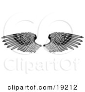 Clipart Illustration Of Black Angel Wings Spread Open by AtStockIllustration #COLLC19212-0021