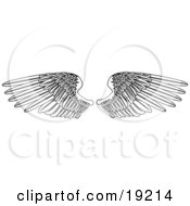 Clipart Illustration Of A Coloring Page Of Two Open Feathered Wings by AtStockIllustration